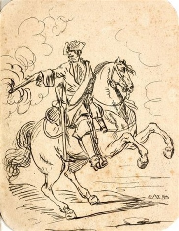 cavalier tenant un mousqueton by charles parrocel