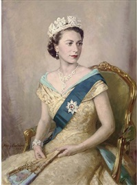 portrait of queen elizabeth ii, seated three-quarter length, in royal dress by mary eastman