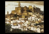 town with castle wall (spain) by akira uchida