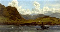mountainous coast with sailing dory by alexander ferdinand wust