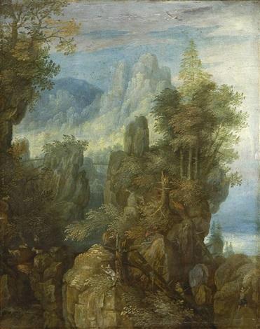 phantastische felsenlandschaft mit jägern und ziegen by roelandt savery