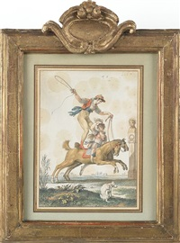 equestrian acrobats (pair) by jean démosthène dugourc