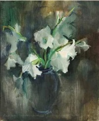 still life of white lillies by louis van heerden