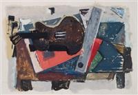 stilleben mit brauner gitarre by joachim heuer