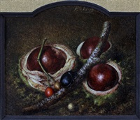 stilleven met kastanjes by hendrik jan (hans) van wyk