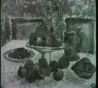 stilleben mit zwetschgen, apfeln und birnen by siegfried fischer
