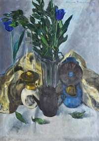 two oil lamps and a teapot by marysia donaldson