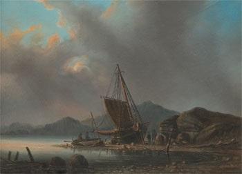 kustmotiv med fartyg by per lindhberg