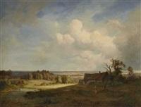 landschaft mit bauernhaus und figurenstaffage by dietrich langko