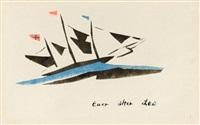 dreimaster mit schwarzen segeln und bunten flaggen by lyonel feininger