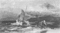 sturmgepeitschtes segelboot an der küste by richard fresenius