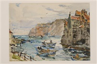 fishing boats at staithes by rowland henry hill