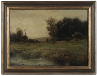 autumn landscape (farmhouse across a field) by arthur parton