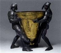 deux fondeurs transportant une cloche by louis étienne marie albert-lefeuvre