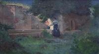 joven en la fuente by alban dulac