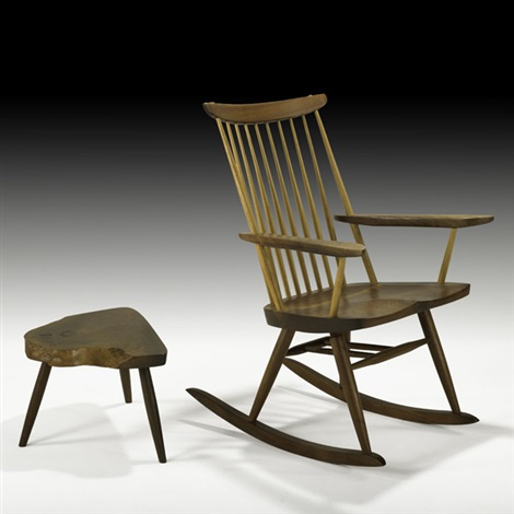 rocking chair and wepman table by mira nakashima yarnall