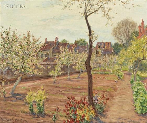 cottage garden in spring by william samuel horton