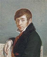 portrait of an architect, half-length, in a green coat by adelaïde binart lenoir