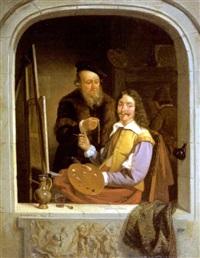 frans van mieris de oude in zijn atelier by jacobus ludovicus godinau