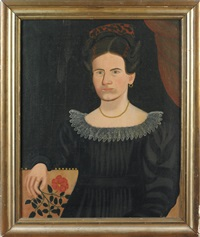 a seated lady holding a rose, a portrait of miriam small by royall brewster smith