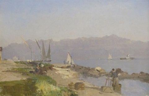 barques sur le léman by francois louis david bocion