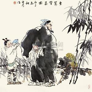 东篱赏菊图 by liu dawei