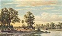 a pastoral landscape by johannes jacobus (jan) heppener