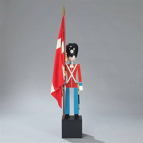 royal guards figure with danish flag in right side by kay bojesen
