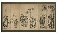 die sieben weisen im bambushain und ein junger diener mit einem bündel schriftrollen am rücken (in 6 parts) by shokoku