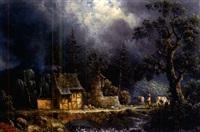romantische weidelandschaft mit malerischem gehöft und kleiner ruine by johann friedrich hennings