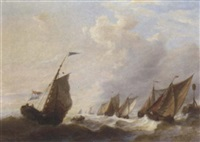 the fishing fleet running out on the tide by p.l. hon