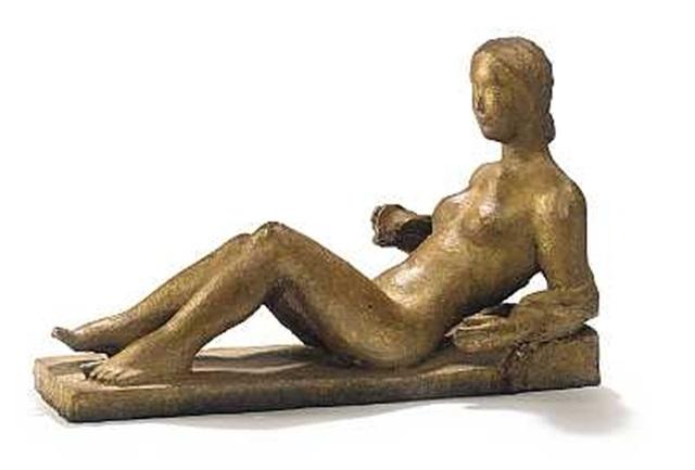liggende ung nøgen kvinde by august keil