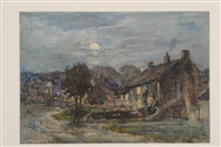a village by moonlight by rowland henry hill
