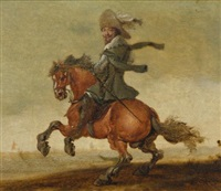 a cavalier on horseback before a landscape by jan asselijn