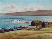 motif with settlements and water from the faroe islands by joen waagstein