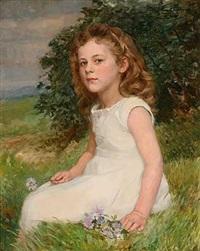 mädchenportrait auf einer sommerwiese by alfred hoehn