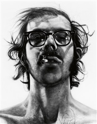 photograph of the artist's big self-portrait by chuck close