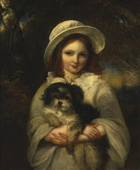 girl with dog by frederick yeates hurlstone