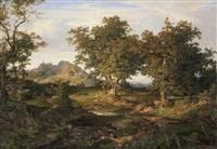 italienische landschaft in küstennähe. im sonnenschein ein rastender ziegenhirt, im hintergrund ein felsendorf by august lucas