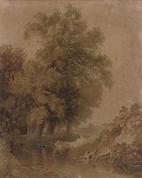 a stream running through a wooded landscape by frederick william hulme