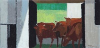 cows standing in a gateway by axel munch