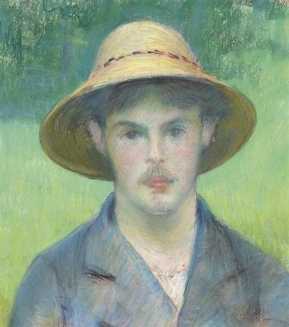 jeune homme au chapeau de paille by gustave caillebotte