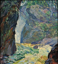 forest views with waterfalls (2 works) by george laurence nelson