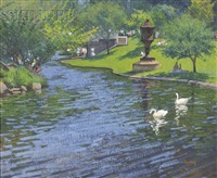 swans on the lagoon at the boston public garden by thomas r. dunlay