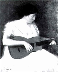 woman with guitar by george charles aid