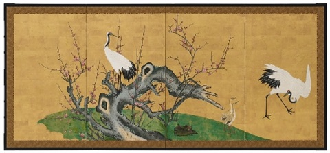 a four panel screen late 19th century
