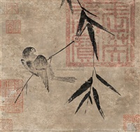 calligraphy, bird by emperor xuande