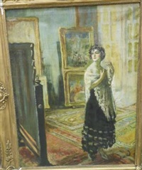 portrait of a woman standing before a mirror by mark