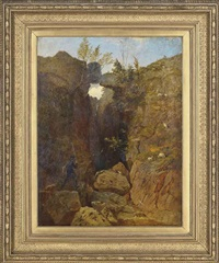self-portrait of the artist in a rocky landscape by andrew maccallum