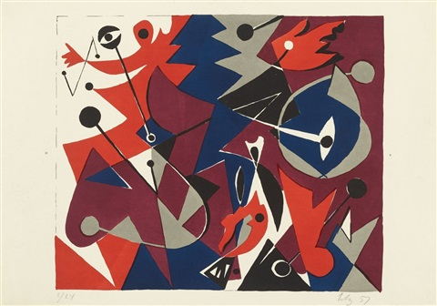 komposition in rot by ernst wilhelm nay